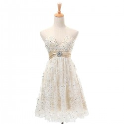 Elegant A line Strapless V-neck Cocktail Dresses Beaded Short Lace Prom Dress Champagne