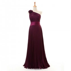 Latest A line Floor-Length Prom Gown One Shoulder Ruffle Flower Long Pruple Chiffon Evening Dresses