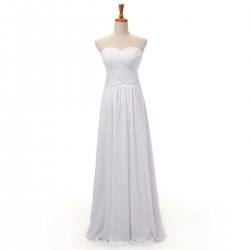 Simple Floor Length White Prom Party Dresses Ruffle Sweetheart Long Evening Formal Gown