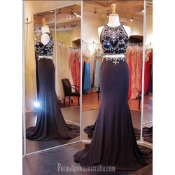 Luxury Trailing Crew Neck Mermaid Beading Prom Dress/Evening Dress