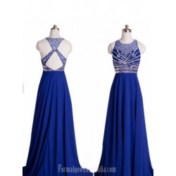 A Line Floor Length Formal Dresses Cross Back Royal Blue Long Chiffon Prom Dress With Beaded