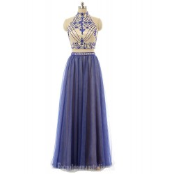 A Line Floor Length High Neck Form Evening Dress Two Piece Blue Tulle Prom Gown