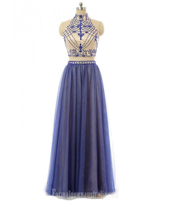 A-Line Floor Length High Neck Form Evening Dress Two Piece Blue Tulle Prom Gown