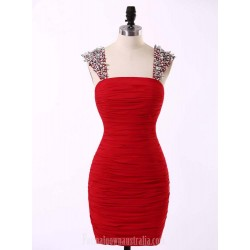 Sexy Short Straps Red Chiffon Formal Dress Evening Dresses