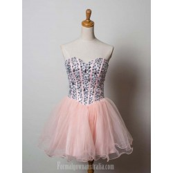 Short Pink Tulle Homecoming Dresses Strapless Cocktail Dresses With Beaded