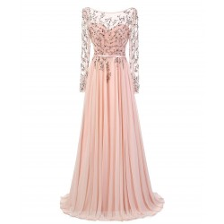 Luxury A-line Scoop Neck Pink Chiffon Formal Dress Evening Gowns Floor Length Long Sleeves Prom Dress With   Beaded