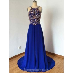 Trailing A Line Dark Blue Chiffon Formal Dress Evening Gowns With Beading