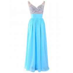 Long A Line V Neck Straps Sky Blue Chiffon Formal Dress Evening Dresses With Beaded