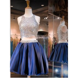 Short Beaded Homecoming Dresses Royal Blue Two Pieces Formal Dresses