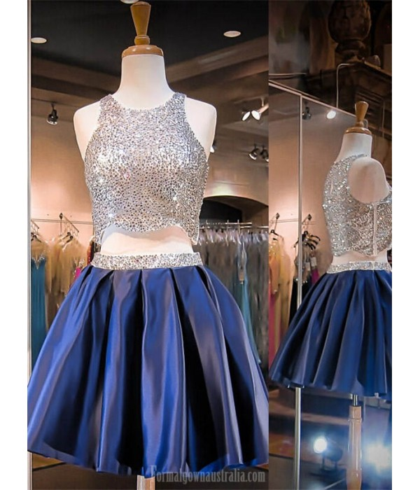 Short Beaded Homecoming Dresses Royal Blue Two Pieces Formal Dresses Formal Dresses Australia