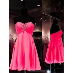 Knee Length Sweetheart Formal Dresses A-line Beading Fuchsia Chiffon Short Homecoming Dresses