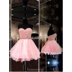 Pink Ball Dresses Sweetheart Organza Short Mini Pink Homecoming Dresses Formal Dresses With Beaded
