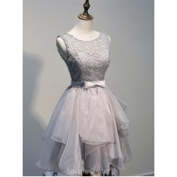 Short Homecoming Dresses With Beaded A Line Sliver Tower Scoop Grey Formal Dress Party Gowns