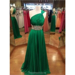 Long Green Chiffon Prom Dresses One Shoulder Crystal Floor Length Formal Dress Evening Dresses With Beaded