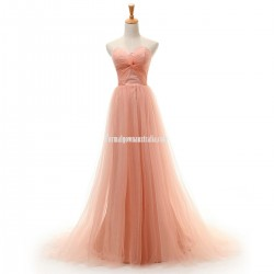 Elegant Long Pearl Pink Formal Dresses Sweetheart Trailing Tulle Prom Gown For Women Evening