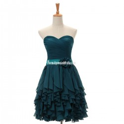 Short Ink Blue Formal Dresses 3D Flower Tower Prom Gown Hot A-line Sweetheart Short/Mini Chiffon Cocktail Dresses