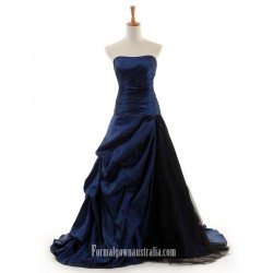 Long Strapless Formal Dress Navy Blue Satin Evening Gown Ball Party Dress Australia