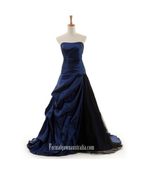 Long Strapless Formal Dress Navy Blue Satin Evening Gown Ball Party Dress Australia Formal Dresses Australia