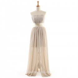 Long Formal Dress Strapless Floor-length Ruffle Chiffon Prom Dresses