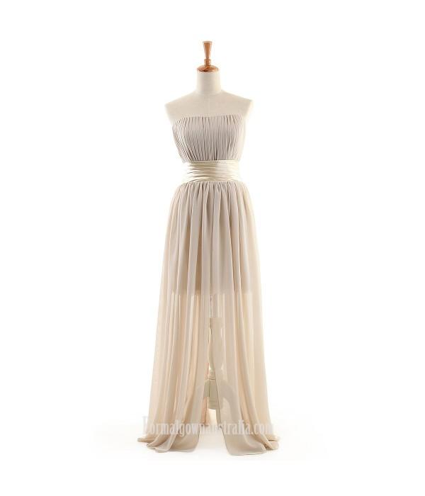 Long Formal Dress Strapless Floor-length Ruffle Chiffon Prom Dresses Formal Dresses Australia