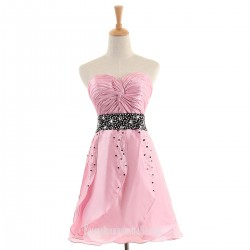 Short Formal Dress Australia A Line Pink Satin Cocktail Dress Sweetheart Beaded Chic Style Prom Gown