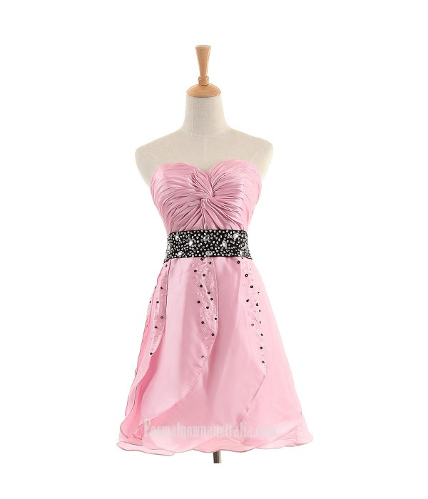 Short Formal Dress Australia A-line Pink Satin Cocktail Dress Sweetheart Beaded Chic Style Prom Gown Pink Formal Dresses