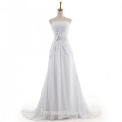 Tailing A-line Formal Dress Australia Strapless Prom Dresses Zipper Style White Chiffon Long Evening Formal Dress