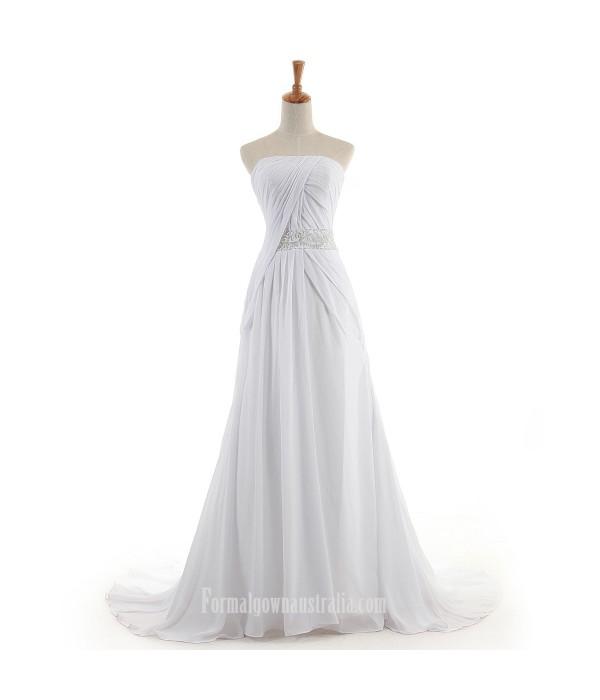 Tailing A-line Formal Dress Australia Strapless Prom Dresses Zipper Style White Chiffon Long Evening Formal Dress White Formal Dresses