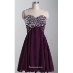2018 New Short Purple Chiffon Formal Dress Strapless Lace Up Cocktatil Dresses With Beading Knee Length Party Dress Purple Formal Dresses