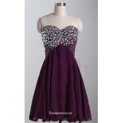 2018 New Short Purple Chiffon Formal Dress Strapless Lace Up Cocktatil Dresses With Beading Knee Length Party Dress