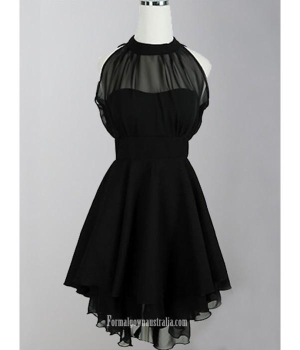 2018 New Short Black Chiffon Formal Dress Zipper Party Dress A Line Halter Little Black Dress New Arrival