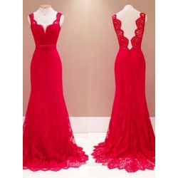 2018 New Elegant Long Red Lace Formal Dress Tailing Evening Gown Straps V Ncek Backless Lace Evening Prom Dress