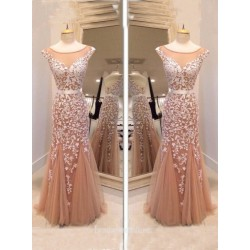 2018 New Floor Length Tulle Formal Dress Glamorous Mermaid Prom Dress Scoop Long Elegant Luxury Evening Gown