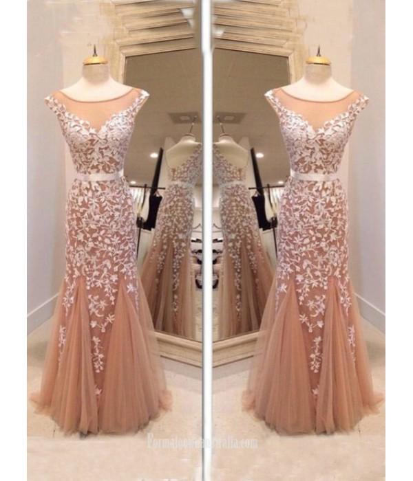 2018 New Floor Length Tulle Formal Dress Glamorous Mermaid Prom Dress Scoop Long Elegant Luxury Evening Gown Long Formal Dresses