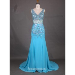 2018 New Tailing Blue Chiffon Formal Dress V Neck Mermaid Prom Evening Dress With Beading