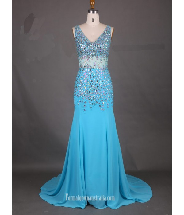 2018 New Tailing Blue Chiffon Formal Dress V-neck Mermaid Prom Evening Dress With Beading Blue Formal Dresses
