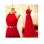 2018 New Tailing Red Chiffon Formal Dress Halter Neck A-line Long Prom Dresses Formal Dresses Australia