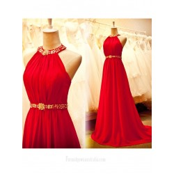 2018 New Tailing Red Chiffon Formal Dress Halter Neck A-line Long Prom Dresses