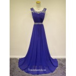 2018 New Floor Length Blue Chiffon Forml Dess Au Straps Prom Dress With Beading Blue Formal Dresses