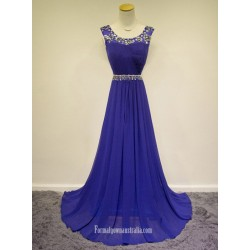 2018 New Floor Length Blue Chiffon Forml Dess Au Straps Prom Dress With Beading