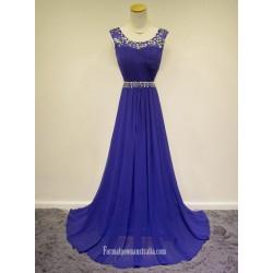2018 New Floor Length Blue Chiffon Forml Dess Au Straps Prom Dress With Beading