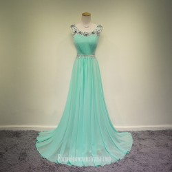 2018 New Floor Length Light Blue Chiffon Formal Dress A Line Scoop Neck Beadings Long Evening Prom Dress