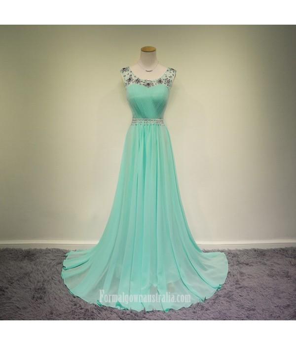 2018 New Floor Length Light Blue Chiffon Formal Dress A-line Scoop Neck Beadings Long Evening/Prom Dress Blue Formal Dresses