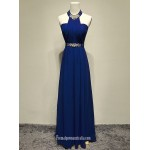 2018 New Floor Lenth Royal Blue Chiffon Formal Dress Halter Neck Long Party Gowns Blue Formal Dresses