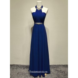 2018 New Floor Lenth Royal Blue Chiffon Formal Dress Halter Neck Long Party Gowns