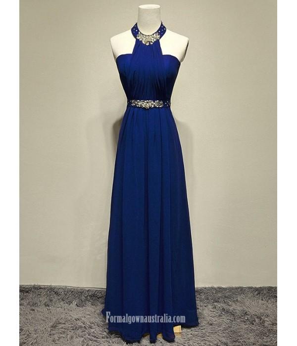 2018 New Floor Lenth Royal Blue Chiffon Formal Dress Halter Neck Long Party Gowns Blue Formal Dresses
