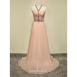2018 New Long Pink Chiffon Formal Dress Customized Size Party Dress Witj Beading