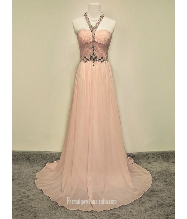 2018 New Long Pink Chiffon Formal Dress Customized Size Party Dress Witj Beading Pink Formal Dresses