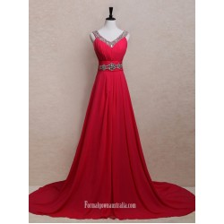 Simple  A-line Rhinestones V-neck Long Chiffon Prom Dresses/Evening Dresses