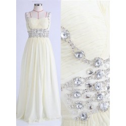 Simple Dress Beading Spaghetti Straps Long Chiffon Prome night dress